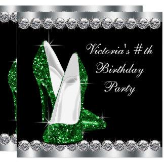 Fiesta de cumpleaños negra elegante del verde invitación 13,3 cm x 13,3cm