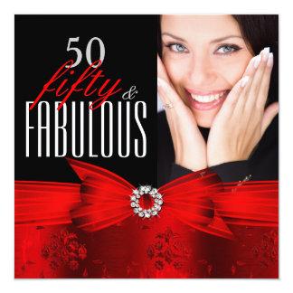 Fiesta de cumpleaños negra roja de la foto 50 invitación 13,3 cm x 13,3cm