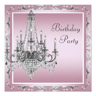 Fiesta de cumpleaños negra rosada de la lámpara invitación 13,3 cm x 13,3cm