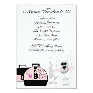 Fiesta de cumpleaños negra rosada de los chicas de invitación 12,7 x 17,8 cm