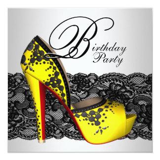 Fiesta de cumpleaños negra y amarilla del zapato invitación 13,3 cm x 13,3cm