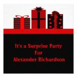 Fiesta de cumpleaños negra y roja de los regalos anuncio
