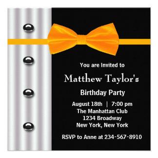 Fiesta de cumpleaños para hombre anaranjada de la  anuncios personalizados