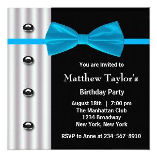 Fiesta de cumpleaños para hombre de la pajarita de invitacion personal