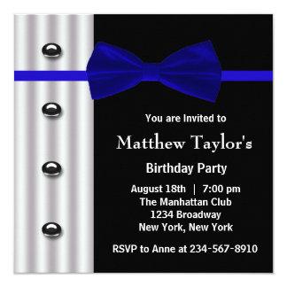 Fiesta de cumpleaños para hombre de la pajarita invitación 13,3 cm x 13,3cm
