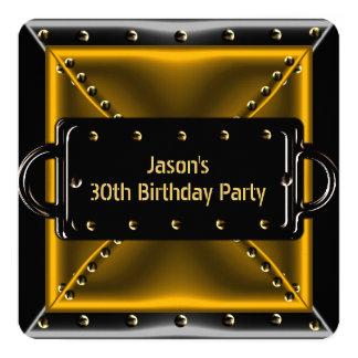 Fiesta de cumpleaños para hombre del bronce de la invitación 13,3 cm x 13,3cm