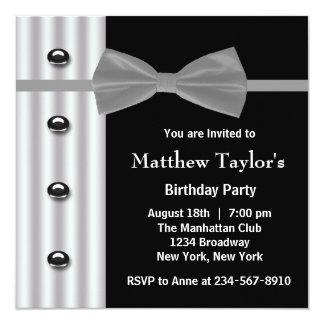 Fiesta de cumpleaños para hombre negra de la invitación 13,3 cm x 13,3cm