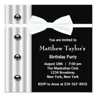 Fiesta de cumpleaños para hombre negra de la invitaciones personalizada