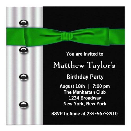 Fiesta de cumpleaños para hombre negra de la pajar invitación