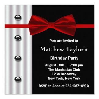 Fiesta de cumpleaños para hombre negra roja de la invitación personalizada