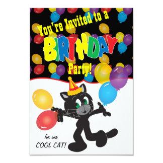 Fiesta de cumpleaños para un gato fresco invitación 8,9 x 12,7 cm