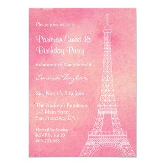 Fiesta de cumpleaños parisiense de la torre Eiffel Invitación 11,4 X 15,8 Cm