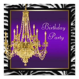Fiesta de cumpleaños púrpura de la cebra de la invitación 13,3 cm x 13,3cm