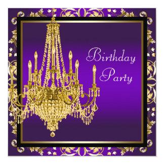 Fiesta de cumpleaños púrpura de la lámpara del oro invitación 13,3 cm x 13,3cm