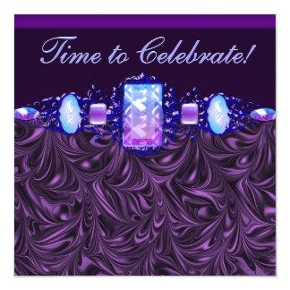 Fiesta de cumpleaños púrpura de la lavanda de las invitación 13,3 cm x 13,3cm