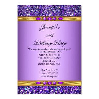 Fiesta de cumpleaños púrpura del diamante del oro invitación 12,7 x 17,8 cm
