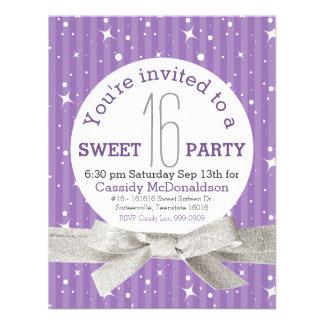Fiesta de cumpleaños púrpura del dulce 16 invitación