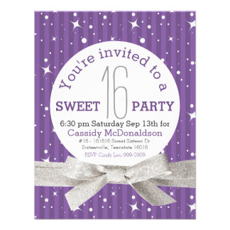 Fiesta de cumpleaños púrpura del dulce 16 invitacion personalizada