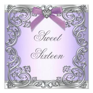 Fiesta de cumpleaños púrpura del dulce 16 invitación 13,3 cm x 13,3cm