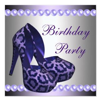 Fiesta de cumpleaños púrpura del leopardo de los invitación 13,3 cm x 13,3cm