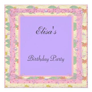 Fiesta de cumpleaños púrpura del marco rosado invitación 13,3 cm x 13,3cm