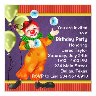 Fiesta de cumpleaños púrpura del payaso de circo invitación 13,3 cm x 13,3cm