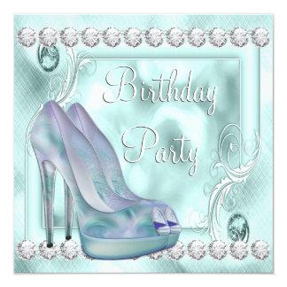 Fiesta de cumpleaños púrpura del zapato del tacón invitación 13,3 cm x 13,3cm