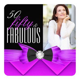 Fiesta de cumpleaños púrpura rosada de la foto 50 invitación 13,3 cm x 13,3cm