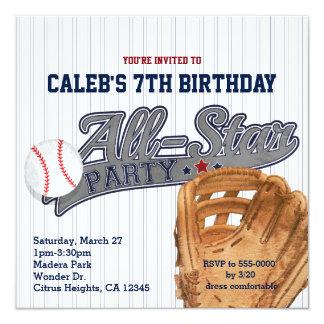 Fiesta de cumpleaños rayada de los deportes de All Invitación 13,3 Cm X 13,3cm