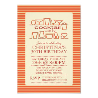 Fiesta de cumpleaños retra anaranjada del cóctel invitación 12,7 x 17,8 cm