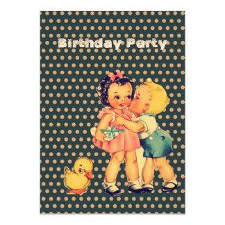 fiesta de cumpleaños retra de los niños de los anuncio