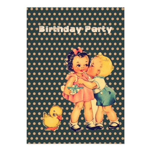 fiesta de cumpleaños retra de los niños de los niñ anuncio