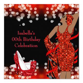 Fiesta de cumpleaños retra de los tacones altos de invitación 13,3 cm x 13,3cm