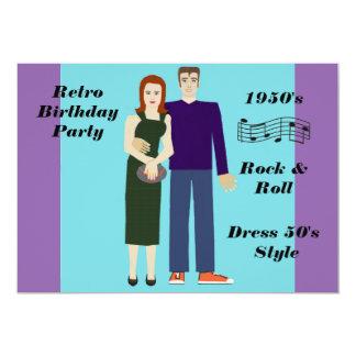 Fiesta de cumpleaños retra invitación 12,7 x 17,8 cm