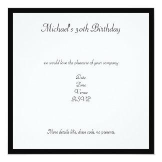 Fiesta de cumpleaños retra negra y blanca de las invitación 13,3 cm x 13,3cm