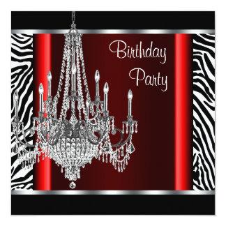 Fiesta de cumpleaños roja de la cebra de la invitación 13,3 cm x 13,3cm