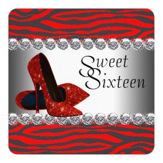 Fiesta de cumpleaños roja de la cebra del zapato invitación 13,3 cm x 13,3cm