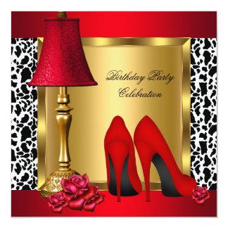 Fiesta de cumpleaños roja de la vaca de los rosas invitación 13,3 cm x 13,3cm