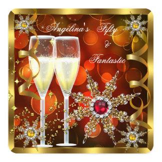 Fiesta de cumpleaños roja de los copos de nieve invitación 13,3 cm x 13,3cm
