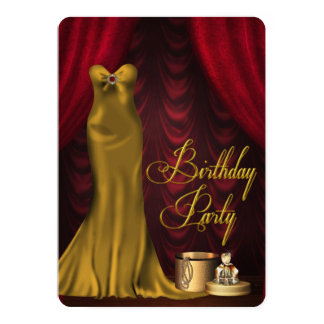 Fiesta de cumpleaños roja de rubíes atractiva del invitación 12,7 x 17,8 cm