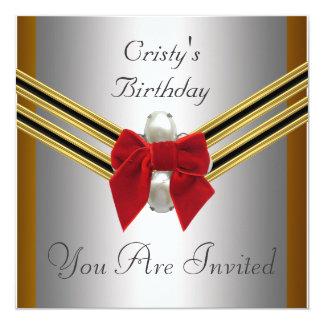 Fiesta de cumpleaños roja del arco de la plata invitación 13,3 cm x 13,3cm