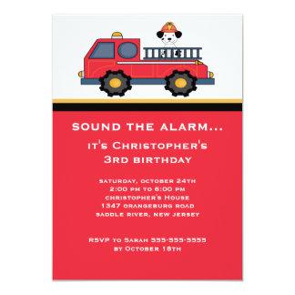 Fiesta de cumpleaños roja del coche de bomberos invitación 12,7 x 17,8 cm