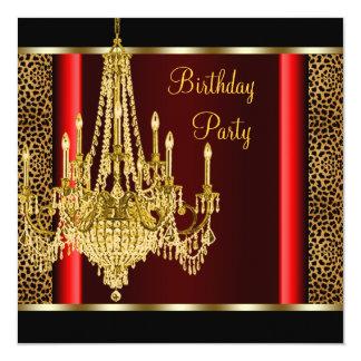 Fiesta de cumpleaños roja del leopardo de la invitación 13,3 cm x 13,3cm