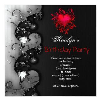 Fiesta de cumpleaños roja negra gótica del corazón invitación 13,3 cm x 13,3cm