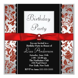 Fiesta de cumpleaños roja y negra del damasco de invitación 13,3 cm x 13,3cm