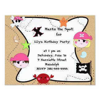 Fiesta de cumpleaños rosada de encargo del pirata invitación 10,8 x 13,9 cm