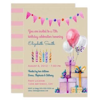 Fiesta de cumpleaños rosada de la acuarela del invitación 12,7 x 17,8 cm