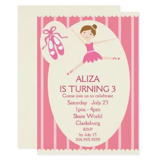 Fiesta de cumpleaños rosada de la bailarina invitación 12,7 x 17,8 cm