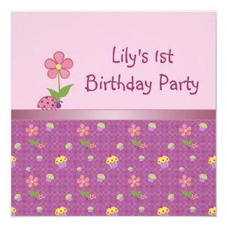 Fiesta de cumpleaños rosada de la mariquita y de invitación 13,3 cm x 13,3cm