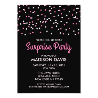 Fiesta de cumpleaños rosada de la sorpresa del invitación 12,7 x 17,8 cm